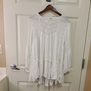 Free People white Lace Peasant Top